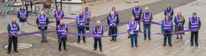 West Midlands Railway station volunteers add a splash of colour for World Polio Day