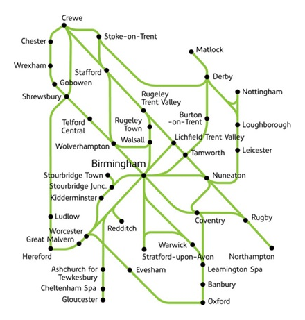 Heart of England Rover route map