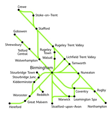 West Midlands Day Ranger route map