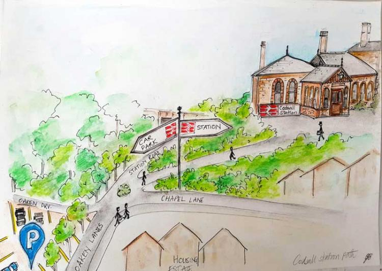 Artist illustration of walking routes to Codsall station