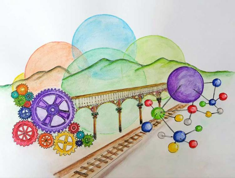 Illustration of the railway tracks with balloons and colourful coggs to represent the festival of innovation.