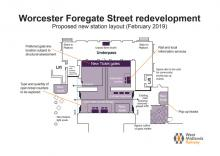 The proposed layout for the £1m redevelopment of Worcester Foregate Street station - under consultation, Feb 2019