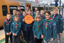 Members of Scouts Bromsgrove celebrate their Cross City Heroes recognition with a day out on the Cross City Line.  The plaque will go on display at Barnt Green station this summer