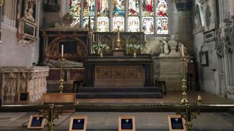 General view of the last resting place of William Shakespeare and his wife Anne Hathaway at Holy Trinity Church in Stratford-upon-Avon