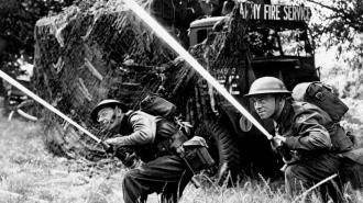 Soldiers of the Army Fire Service in action during the Second World War