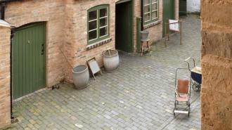 A view of the Courtyard at the Birmingham Back to Backs from an upstairs window