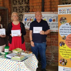 Noran Flynn (FOLIO trustee), Zoe Toft (FOLIO Trustee) and John Cooper (FOLIO Trustee) at Sutton Coldfield station giving out reading material to commuters.