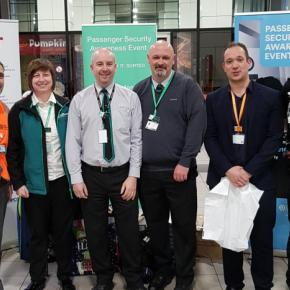 Darren Hanley (left), head of security and emergency planning, with security managers and a British Transport Police officer hosting a passenger security awareness event