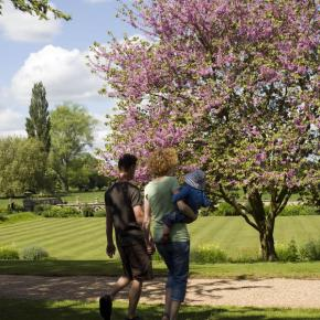 Family visitors in the garden at Charlecote Park, Warwickshire